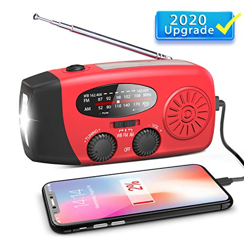 Emergency Hand Crank Radio, Portable Self Powered AM/FM/NOAA Solar Wind Up Weather Radio, with LED Flashlight, USB Rechargeable, 1000mAh Power Bank for Cell Phone Charger Red