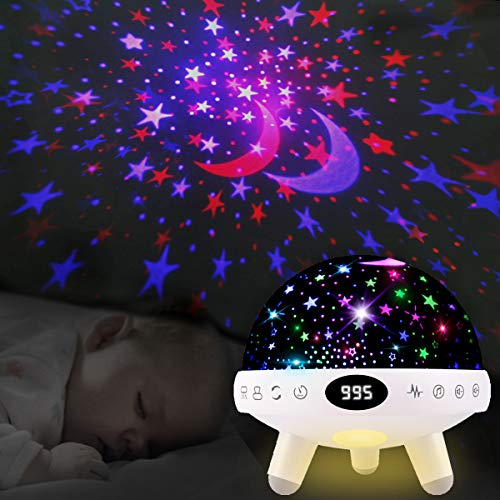 Yachance Baby Star Projector Night Light for Kids with Music White Noise Sound Machine Baby Sleep Soother Nursery Bedside Lamp 9 Natural Sounds 20 Lullabies Remote Control Adapter Timer