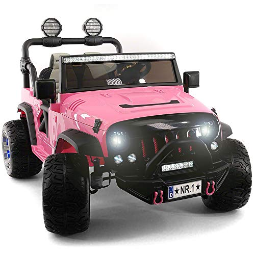 2021 Two (2) Seater Ride On Kids Car Truck w/ Remote | Large 12V Battery Licensed Kid Car to Drive 3 Speeds, Leather Seat, MP3 Music by Bluetooth, FM Radio, Rubber Tires (Pink)