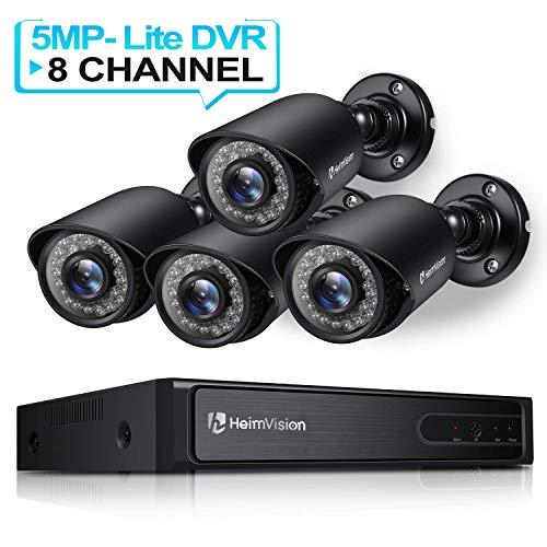 HeimVision HM245 8CH 1080P Security Camera System, 5MP-Lite HD-TVI DVR 4Pcs 1920TVL Outdoor/Indoor Weatherproof CCTV Surveillance Camera with Night Vision, Motion Alert, Face Detection, Remote Access