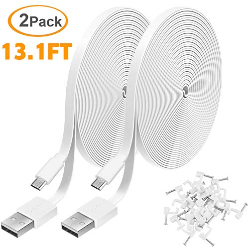 2 Pack 13.1FT Power Extension Cable for WyzeCam,WyzeCam Pan,KasaCam Indoor,NestCam Indoor,Yi Camera, Blink,Cloud Cam, USB to Micro USB Durable Charging and Data Sync Cord for Security Camera-White