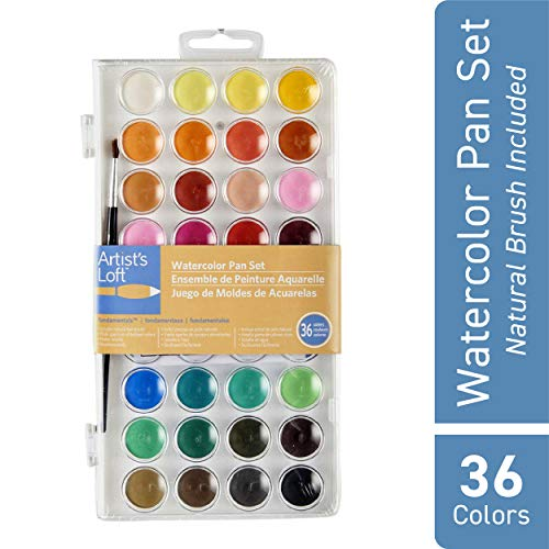 Artists Loft 36 Color Fundamental Watercolor Pan Set with Paint Brush  Watercolor Set for Beginners and Professionals