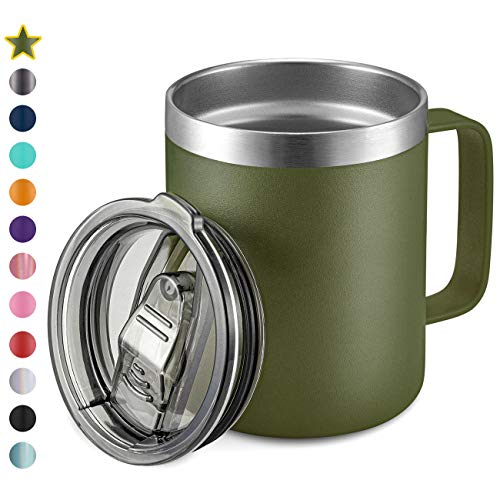 12oz Stainless Steel Insulated Coffee Mug with Handle, Double Wall Vacuum Travel Mug, Tumbler Cup with Sliding Lid, Army Green