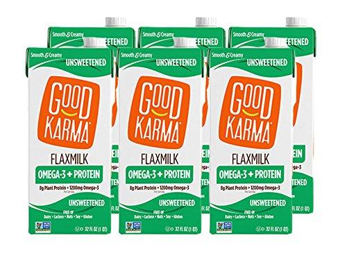 Good Karma Non Dairy Unsweetened Flaxmilk (32 oz Carton, Pack of 6) Vegan Protein Packed & Lactose Free Plant Based Milk Alternative
