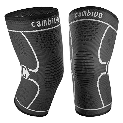 CAMBIVO 2 Pack Knee Brace, Knee Compression Sleeve Support for Men and Women, Running, Hiking, Arthritis, ACL, Meniscus Tear, Sports, Home Gym (Gray,XX-Large)