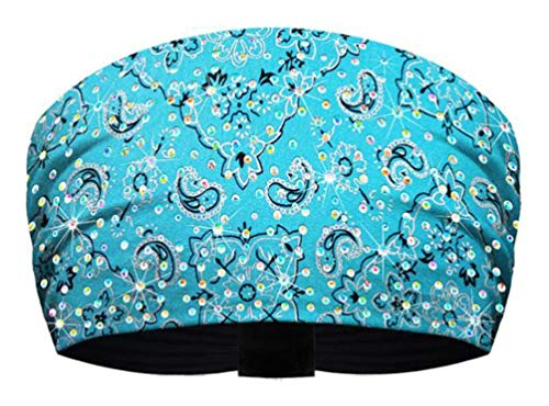 That's A Wrap Women's Blinged Silver Foil Bandana Knotty Band -Turquoise KB1627R