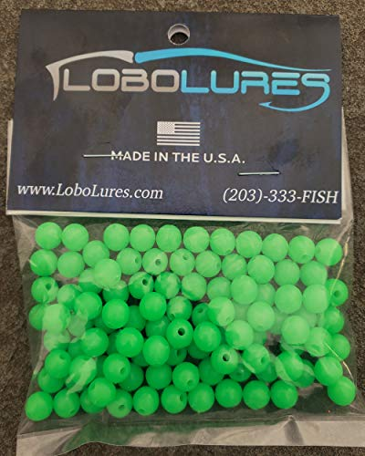 Lobo Lures 100 Pack 8mm Lumo Glow in The Dark Round Lure Rigging Beads up to 400lb Leader Trolling Lures & Hook Rigs