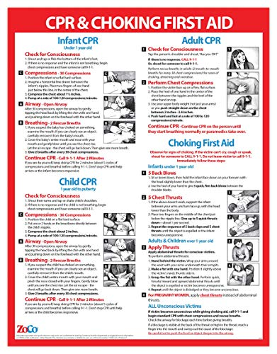 CPR and Choking Poster - CPR Posters Laminated - CPR Chart - Choking Poster - Choking Victim Poster - Choking First Aid Poster - Infant CPR Poster - Heimlich Maneuver Poster - Laminated, 17 x 22