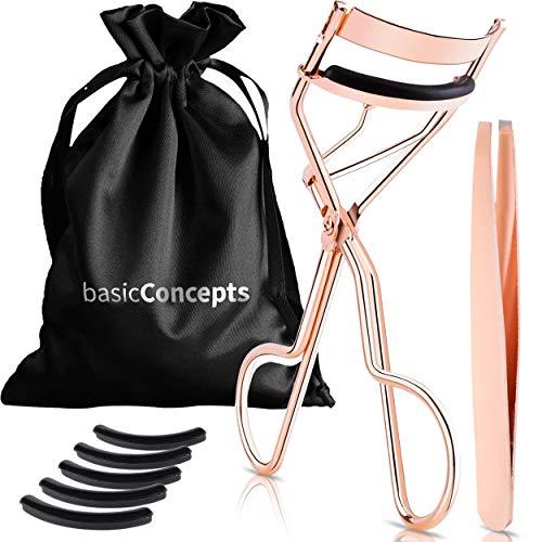 Eyelash Curler Kit (Rose Gold), Premium Lash Curler for Perfect Lashes, Eye Lash Curler with 5 Eyelash Curler Replacement Pads, Universal Eye Lashes Curlers, Eyelash Curler for Women (Box Colors Vary)