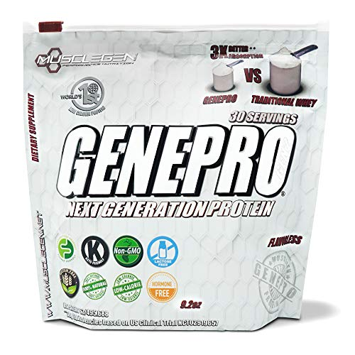 GENEPRO Protein: 30 Servings, Premium Low Calorie Protein for Absorption, Muscle Growth and Mix-Ability