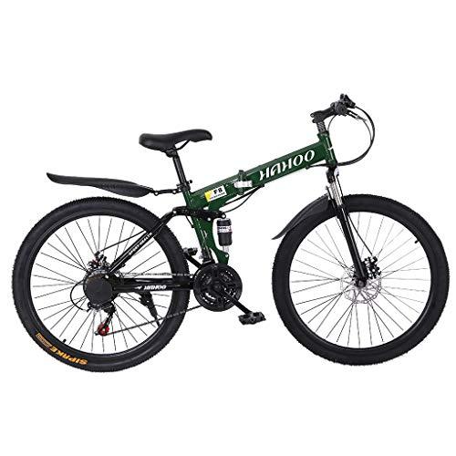 26 inch Mountain Bike Full Suspension 21 Speed Folding Bike Non-Slip Bike for Adults Sport Wheels Dual Disc Brake Aluminum Frame MTB Bicycle Urban Track Bike Road Bikes
