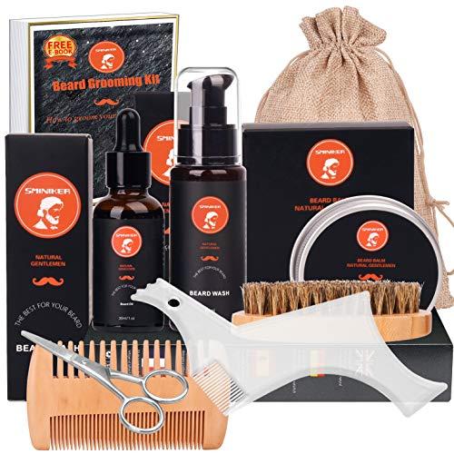 Sminiker 10 in 1 Beard Grooming Kit for Beard Care Unique Gifts for Men, Beard Oil, Beard Brush, Beard Comb, Beard Balm, Beard Shampoo, Beard & Mustache Scissors Beard Growth & Trimming Kit