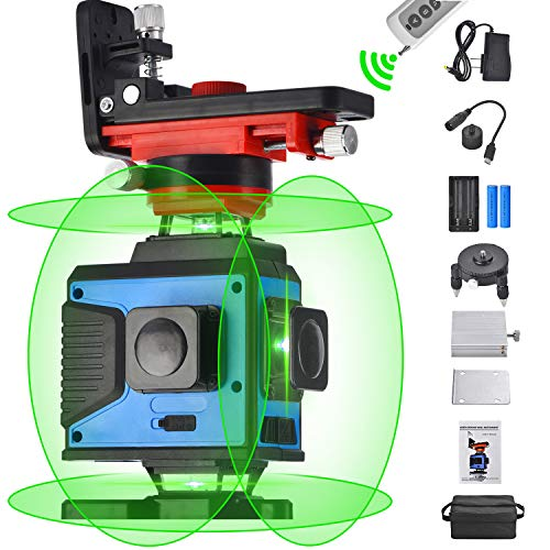 4X360 Cross Line Laser Leveling, 4D Remote Control 16 Lines Green Beam Four Plane Lasers 2x360° Vertical 2x360° Horizontal Line,Wider Range of Illumination,High Precision,Auto Self Leveling