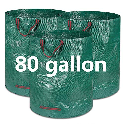 COCOCK 3-Pack 80 Gallons Reusable Garden Waste Bags- Heavy Duty Gardening Bags, Lawn Pool Garden Leaf Yard Waste Bags