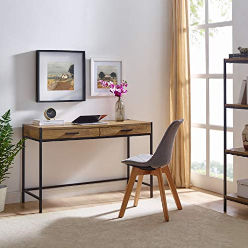 Writing Desk by Caffoz | Study Computer Desk | Oak Brown | Laptop PC Table Workstation with 2 Drawers for Home Office | Storage Space Saver