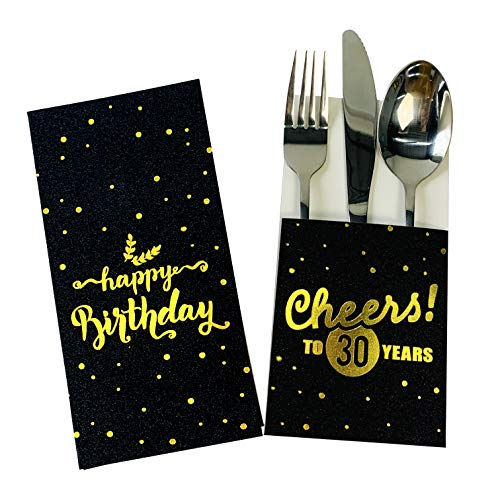 30th birthday decorations for knifes forks bag - silverware cutlery holder pouch, black gold theme 30th birthday tableware party supplies. party dinner table decorations favor. set of 12