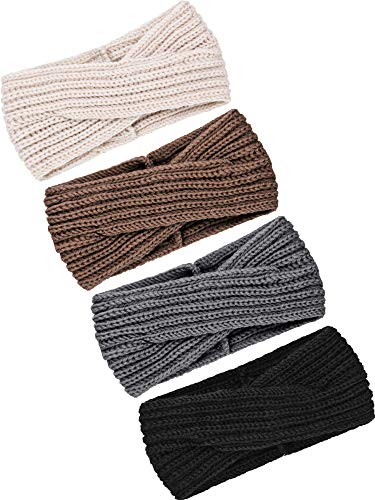 TecUnite 4 Pieces Chunky Knit Headbands Braided Winter Headbands Ear Warmers Crochet Head Wraps for Women Girls (Color Set 15)