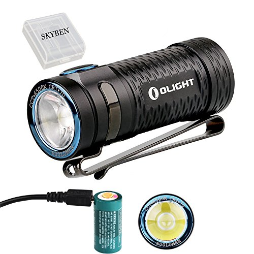 Olight S1 MINI Cree XM-L2 LED 600 Lumens Ultra Compact LED Flashlight Smallest Side-switch Flashlight with Rechargeable 16340 Battery x 1 and SKYBEN Accessory(S1 MINI)