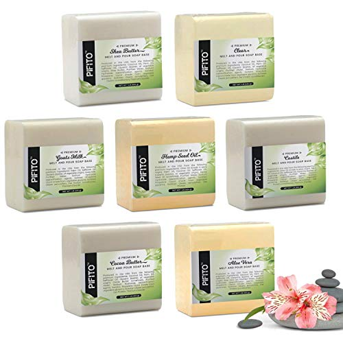 Pifito Melt and Pour Soap Base Sampler (7 lbs)  Assortment of 7 Bases (1lb ea)  Hemp Seed Oil, Clear, Aloe Vera, Goats Milk, Cocoa Butter, Shea Butter, Castile  Glycerin Soap Making Supplies