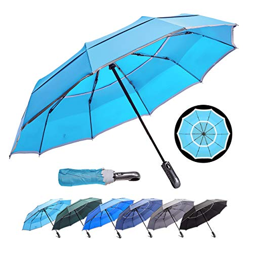 HOSA Auto Open Close Compact Portable Lightweight Travel   Night Safety Reflective Strip   Windproof Waterproof UV Protection Umbrella   for Raining Sunny Days Night Time Use (Water Blue 46-inch)