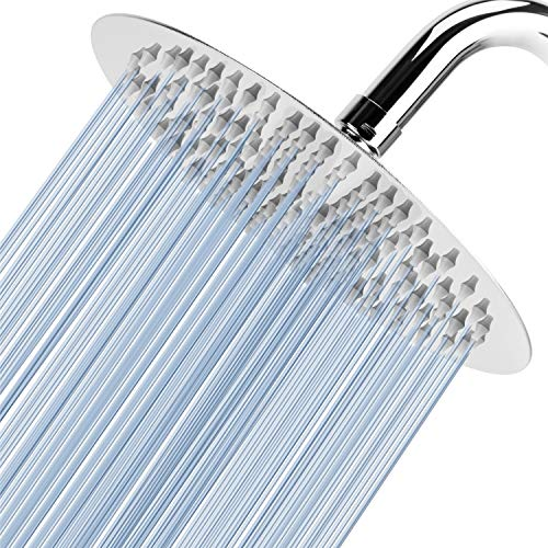 High Pressure Shower Head - Voolan 8 Inch Rain Shower head Made of 304 Stainless Steel - Comfortable Shower Experience Even at Low Water Flow