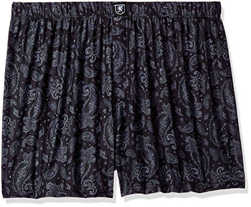 STACY ADAMS Men's Big and Tall Boxer Short, Black Paisley, 4XL