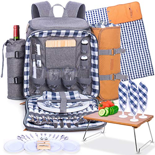 Romali's Family Picnic Backpack for 4 - Insulated - Gray - Fully Equipped with Plates Cutlery Non-breakable Glasses Chopping Board Bottle Opener Plus Waterproof Blanket with an Extra Serving Tray