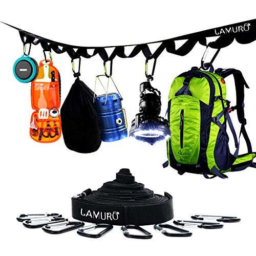 LAMURO Campsite or Garden Supplies Storage Strap with 8 Hooks | Hanging Your Camping Gear from a Tree | Vertical or Horizontal Organizer