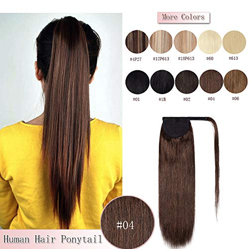 18 Inches Wrap Around Human Hair Ponytail Extensions 100% Remy Human Hair Long Straight Silky With Comb Clip in One Piece Pony Tail Extensions #4 Medium Brown 18'' 90g