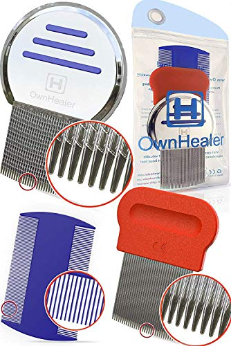 Head Lice Comb 3 Pcs for Fast Nit and Lice Removal - Best Results from OwnHealer, Package & Colors May Vary