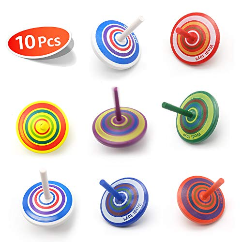 Wood Spinning Tops, Multicolored Painted Kids Novelty Wooden Gyroscopes, Fun Flip Tops, Assorted Standard Tops, Kindergarten Education Toys - Party Favors, Prize, Great Gift, 10 Pcs/Set (Colorful)
