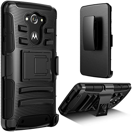 E LV Holster Case for Moto Droid Turbo Case - Dual Layer Armor Defender Protective Case Cover with Kickstand and Belt Swivel Clip for Droid Turbo XT1254 Model - Black