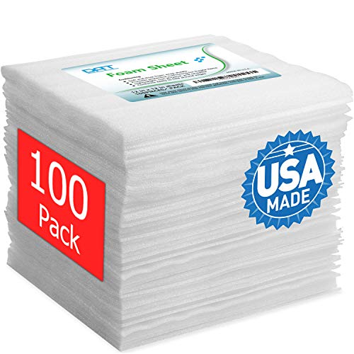 100 Pack Foam Sheets, DAT 12' x 12', 1/16' Thick, Foam Wrap Cushioning Material, Moving Supplies for Packing Storage and Shipping