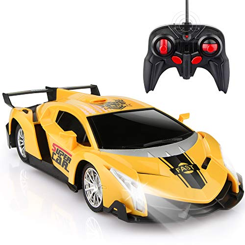 Growsland Remote Control Car, RC Cars Xmas Gifts for Kids 1/24 Electric Sport Racing Hobby Toy Car Yellow Model Vehicle for Boys Girls Adults with Lights and Controller