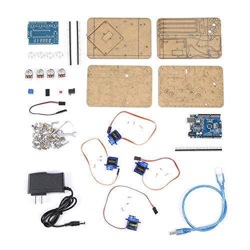 Robot Arm Kit, DIY Robot Arm, DIY Assembly Acrylic Mechanical Arm 4 DOF Robot Claw Kit for Arduino Robotics SNAM1900