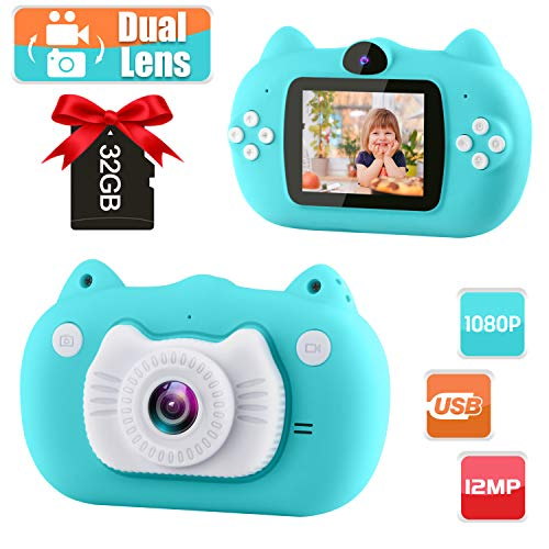 GKTZ Kids Camera Digital Dual Lens Video Cameras for Children Toys Camcorder with 2 Inch IPS Screen 12MP 1080P HD Toddler Cameras Gifts for Kids 3 - 10 Year Old Boys Girls with 32GB Memory Card Blue