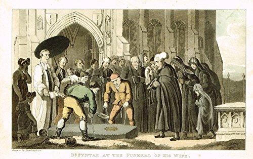 Sandtique Rare Prints Rowlandson's Dr. Syntax - DR. Syntax At T The Funeral of HIS Wife - Hand-Colored Aquatint by Rowlandson - 1820