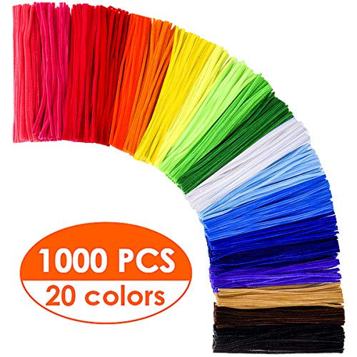KASEMI Pipe Cleaners,1000 pcs and 20 Assorted Colors 12 inch Chenille Stems for DIY Art Creative Crafts Decorations
