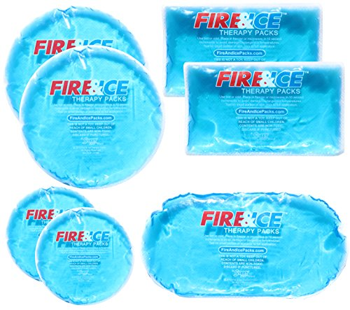 Fire & Ice Hot Cold Gel Packs-7 Reusable Packs In 4 Sizes for Multiple Applications  Muscle & Joint Pain, Sinus Relief, First Aid for Injuries, Tired Eyes, Child Boo Boos, or Keeping Lunches Cool