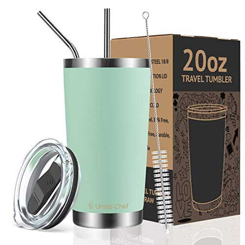 Umite Chef 20oz Tumbler Double Wall Stainless Steel Vacuum Insulated Travel Mug with Lid, Insulated Coffee Cup, 2 Straws, for Home, Outdoor, Office, Ice Drink, Hot Beverage20 oz, Tiffany Blue)