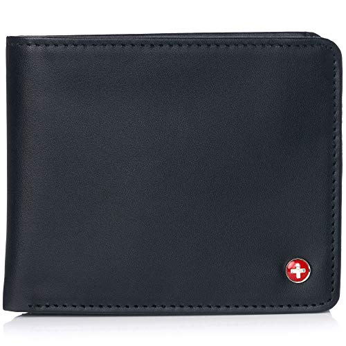 Alpine Swiss RFID Mathias Mens Wallet Deluxe Capacity Passcase Bifold With Divided Bill Section Camden Collection Smooth Finish Black