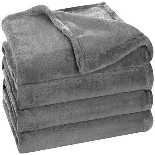Utopia Bedding Fleece Blanket Twin Size Grey Luxury Bed Blanket Fuzzy Soft Blanket Microfiber