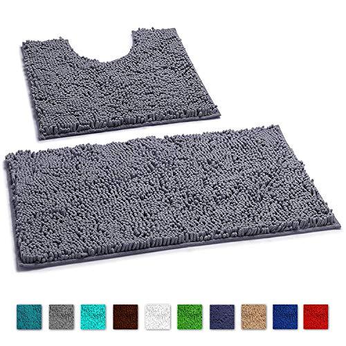 LuxUrux Bathroom Rugs Luxury Chenille 2-Piece Bath Mat Set, Soft Plush Anti-Slip Bath Rug +Toilet Mat.1'' Microfiber Shaggy Carpet, Super Absorbent (Curved Set, Dark Gray)