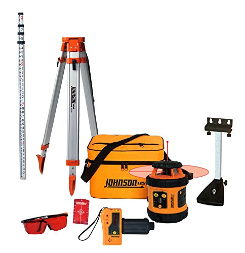 Johnson Level & Tool 99-006K Self Leveling Rotary Laser System Kit, Soft Shell Carrying Case, Alkaline Battery, Tripod, Mounting Bracket, 13ft Grade Rod, Magnetic Target, Protective Glasses