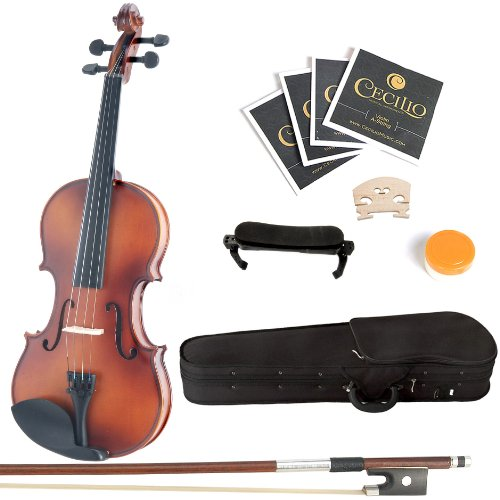 Mendini Solid Wood Violin with Hard Case, Bow, Rosin and Extra Strings (4/4, Antique)