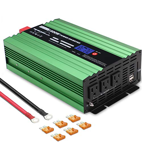 Beleeb Pure Sine Wave Inverter 1500Watt DC 12V to AC 110V 120V with LCD Display,3 AC Outlets and 2 USB Ports,Solar Power Inverter,for Home RV Trucks Boats and Emergency