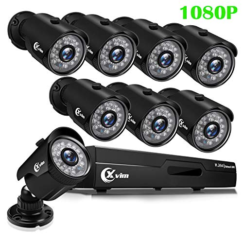 XVIM 1080P H.264 Home Wired Security Cameras System, 8CH 1080P HD DVR 8pcs 1080P 1920TVL Outdoor Indoor Waterproof Surveillance Cameras with Live Viewing 85FT Night Vision(No HDD)