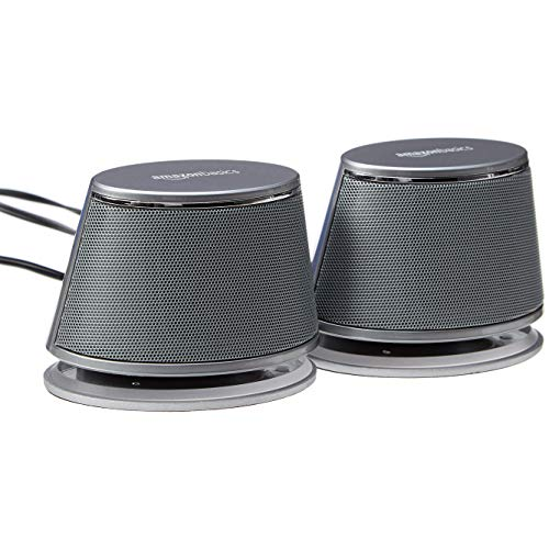 AmazonBasics USB-Powered PC Computer Speakers with Dynamic Sound   Silver