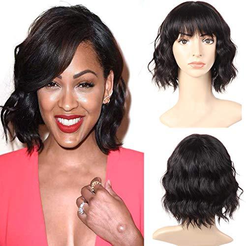 PANEWAY Body Wave Human Hair Wigs With Bangs Short Wavy Bob Wig Human Hair Wigs For Black Women Brazilian Virgin Human Hair Wigs 130% Density Natural Color (10 inch)