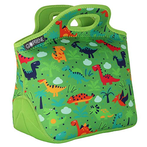GOPRENE Lunch Bag For Boys, Fits A Kids Lunch Box, Insulated Neoprene Bag, Green Dinosaur, Bento Box and Thermos Fit Easily, Keeps Food Cold 4 Hours, Perfect For Your Son, Child, or Toddler at School